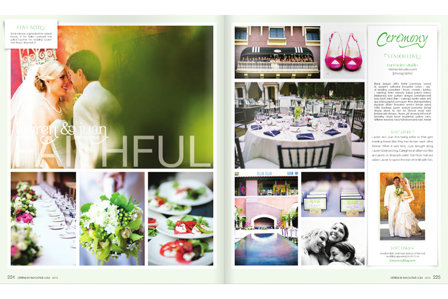 Hotel Valencia wedding photos featured on Ceremony Magazine