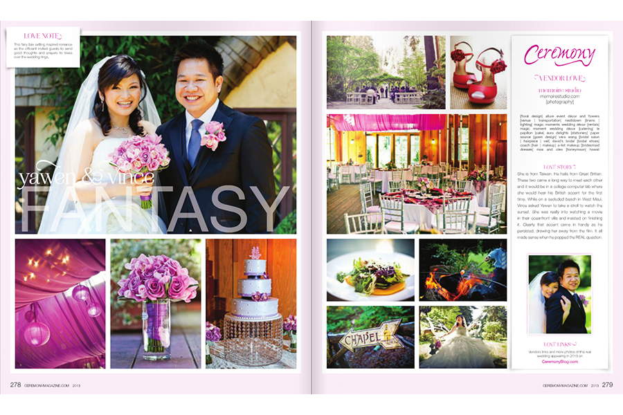 Nestldown wedding photos featured on Ceremony Magazine