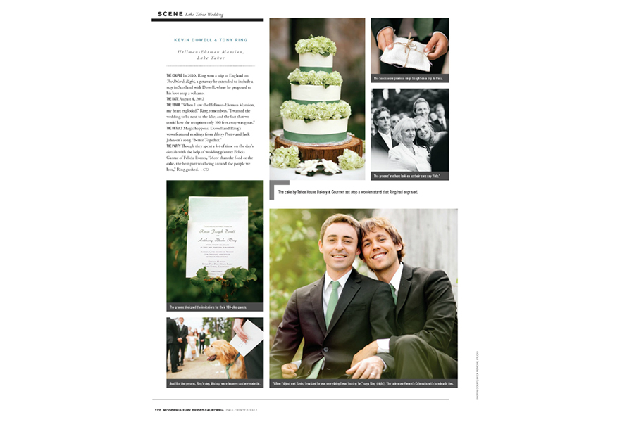 Lake Tahoe wedding photos featured on Modern Luxury Brides California Magazine