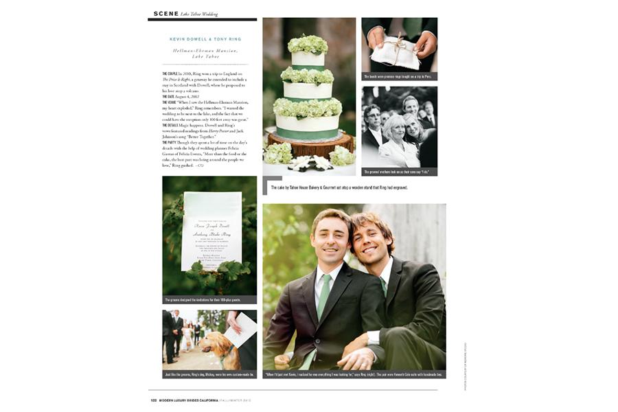Lake Tahoe wedding photos featured on Modern Luxury Brides California Magazine