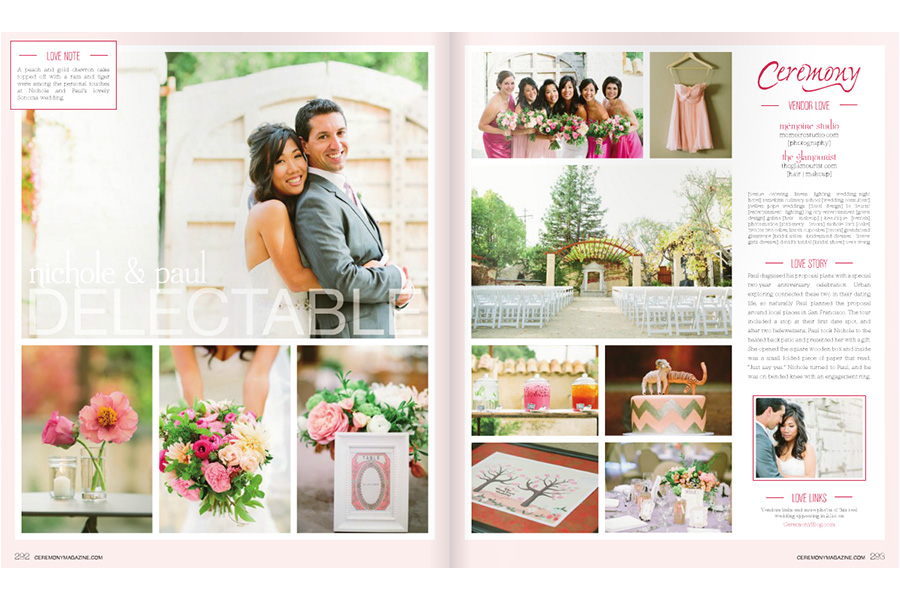 Napa Ramekins wedding photos featured on Ceremony Magazine