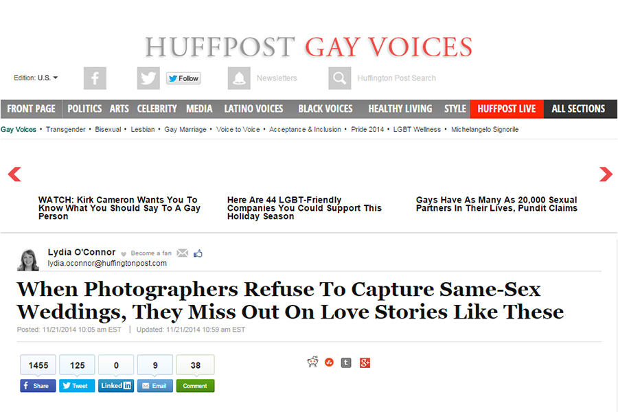 San Francisco gay wedding photographer featured on Huffington Post