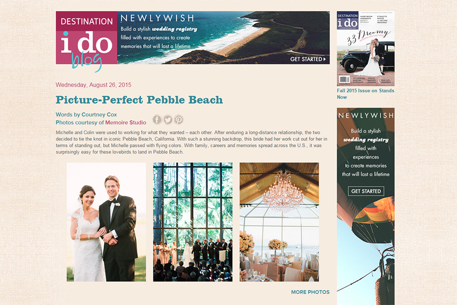 Pebble Beach destination wedding photographer featured on Destination I Do