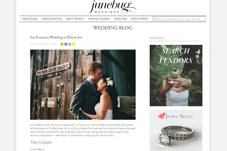 San Francisco gay wedding photographer featured on Junebug Weddings