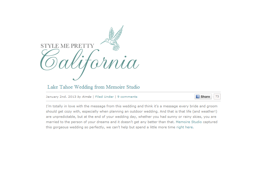 San Francisco wedding photographer published on style me pretty